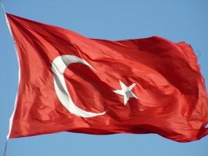 Turkije vlag wapperend